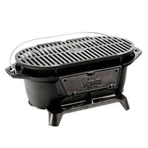 Does the Lodge L410 Pre-Seasoned Sportsman's Charcoal Grill work?